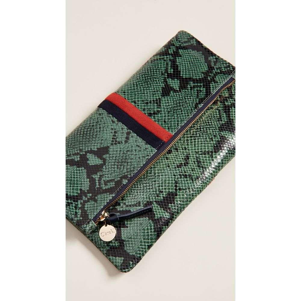 クレア ヴィヴィエ Clare V. レディース バッグ クラッチバッグ【Foldover Clutch】Green Snake with Red/Navy