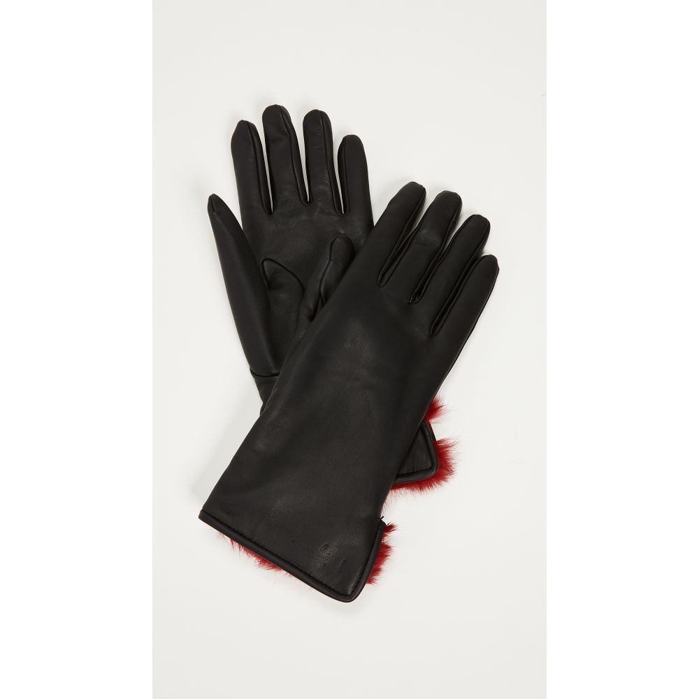 サルヴァトーレ フェラガモ Salvatore Ferragamo レディース 手袋・グローブ【Leather & Fur Gloves】Black/Red