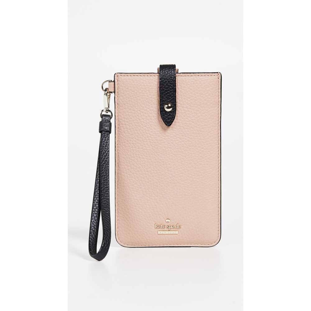 ケイト スペード Kate Spade New York レディース スマホケース【Universal Pebbled Phone Sleeve】Ginger Tea/Black