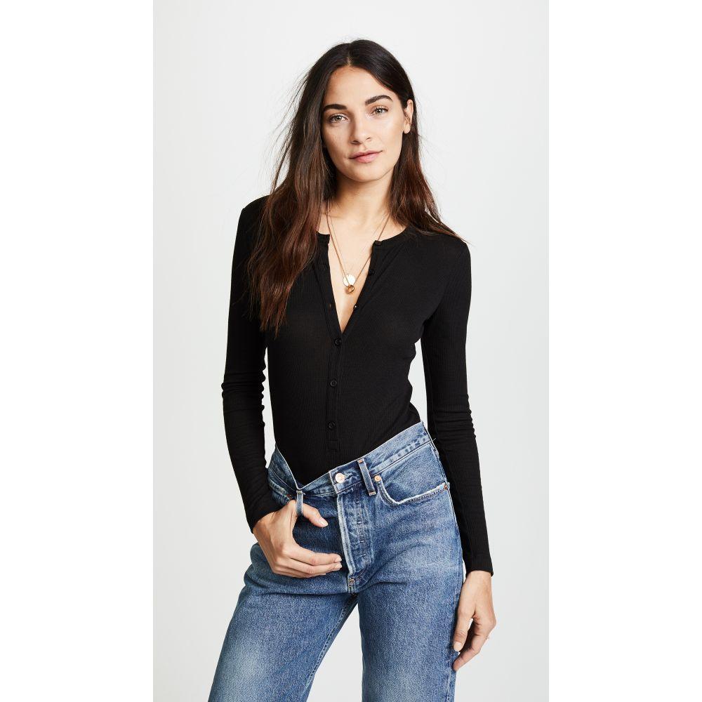 フルール ドゥ マル Fleur du Mal レディース インナー・下着 ボディースーツ【Henley Long Sleeve Bodysuit】Black