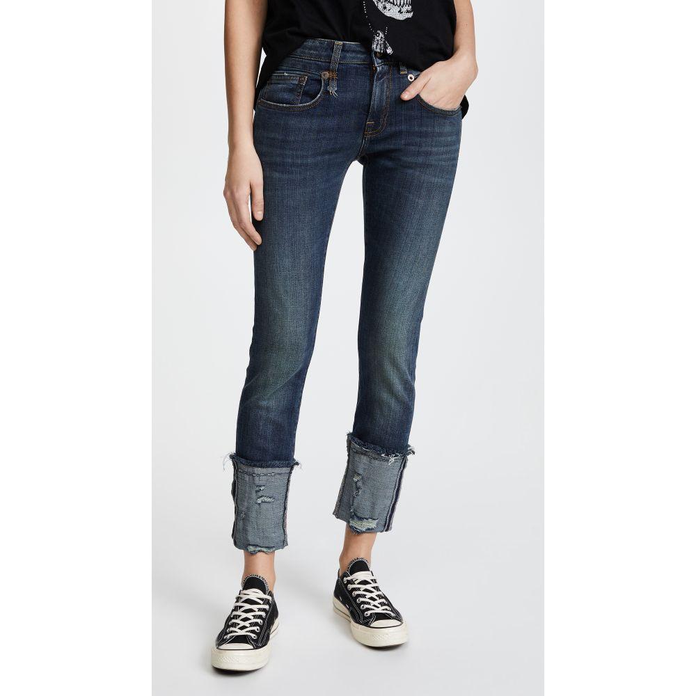 アール サーティーン R13 レディース ボトムス・パンツ ジーンズ・デニム【Boy Skinny Jeans with Cuffs】Dark Vintage Blue with Fray