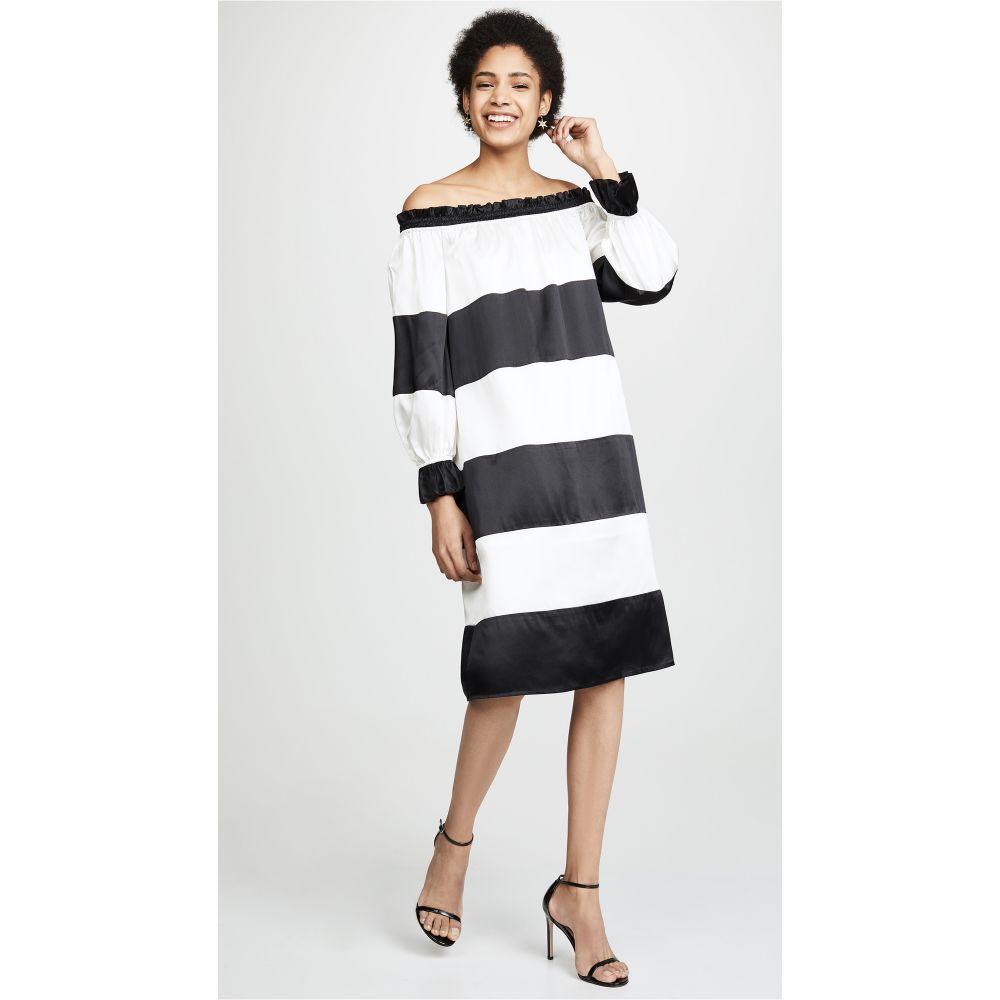 シンシア ローリー Cynthia Rowley レディース ワンピース・ドレス ワンピース【Shanley Striped Off Shoulder Dress】Black/Cream