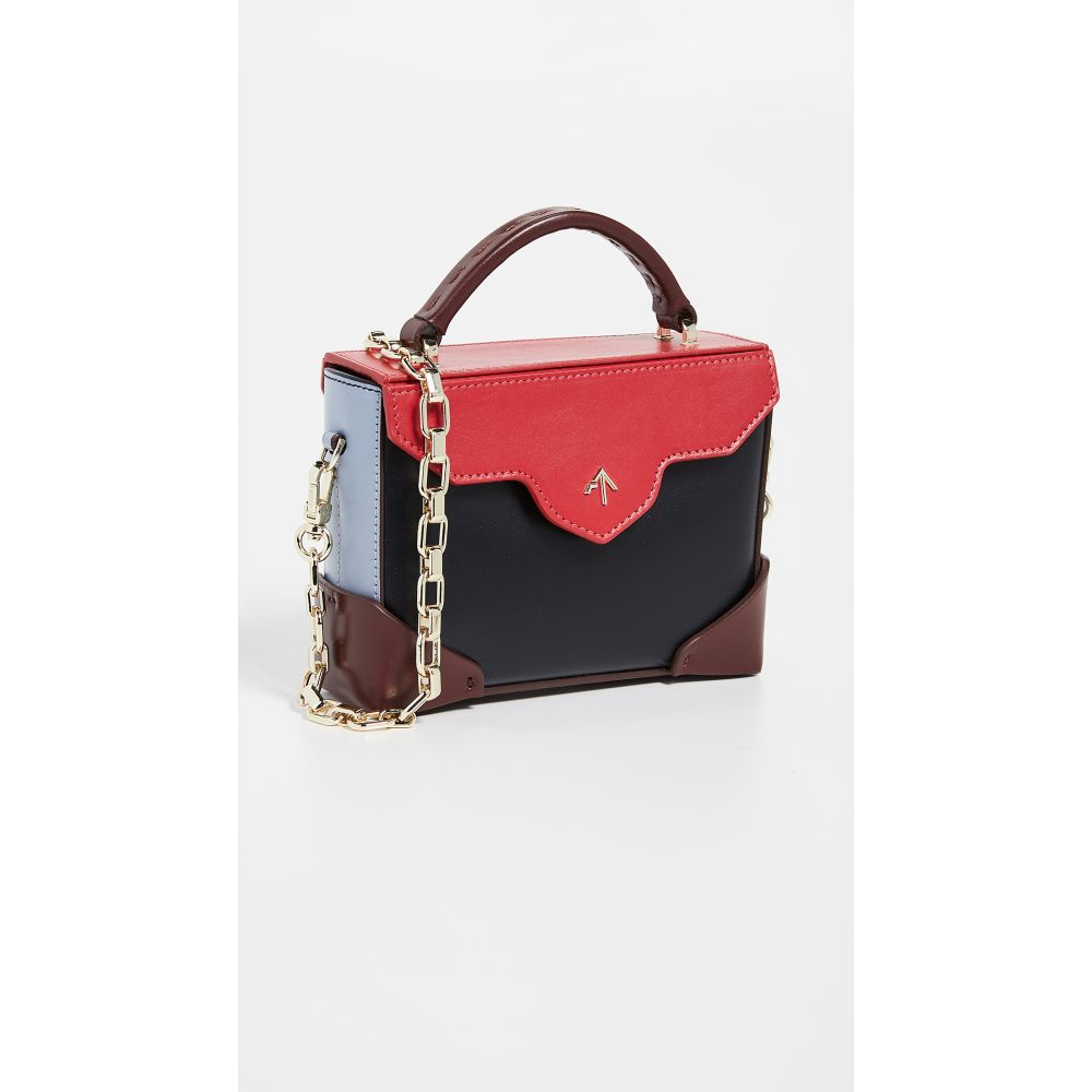 マニュ アトリエ MANU Atelier レディース バッグ ショルダーバッグ【Micro Bold Combo Top Handle Bag with Gold Chain】Black/Red/Ice Blue