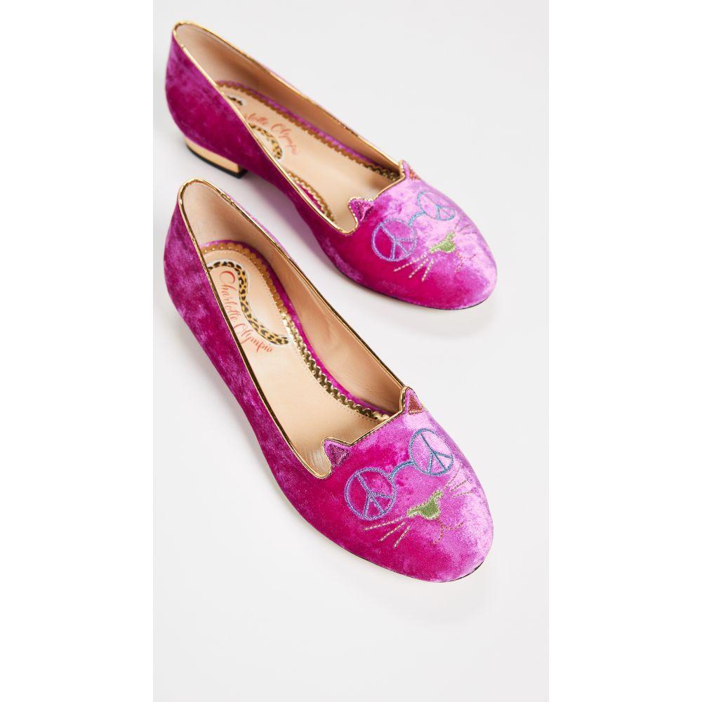 シャーロット オリンピア Charlotte Olympia レディース シューズ・靴 スリッポン・フラット【Peaceful Kitty Flats】Flamingo/Gold