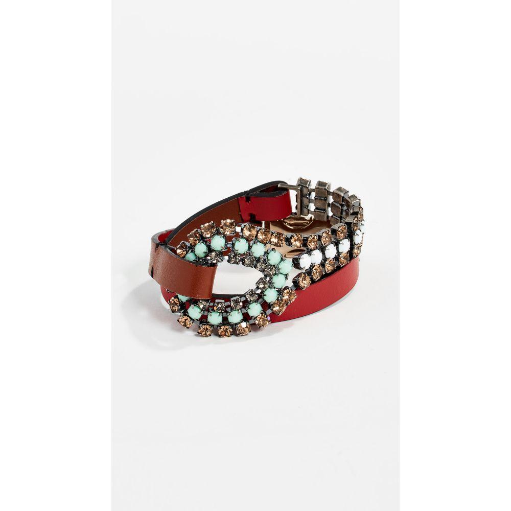 マルニ Marni レディース ジュエリー・アクセサリー ブレスレット【Leather and Strass Bracelet】Mint