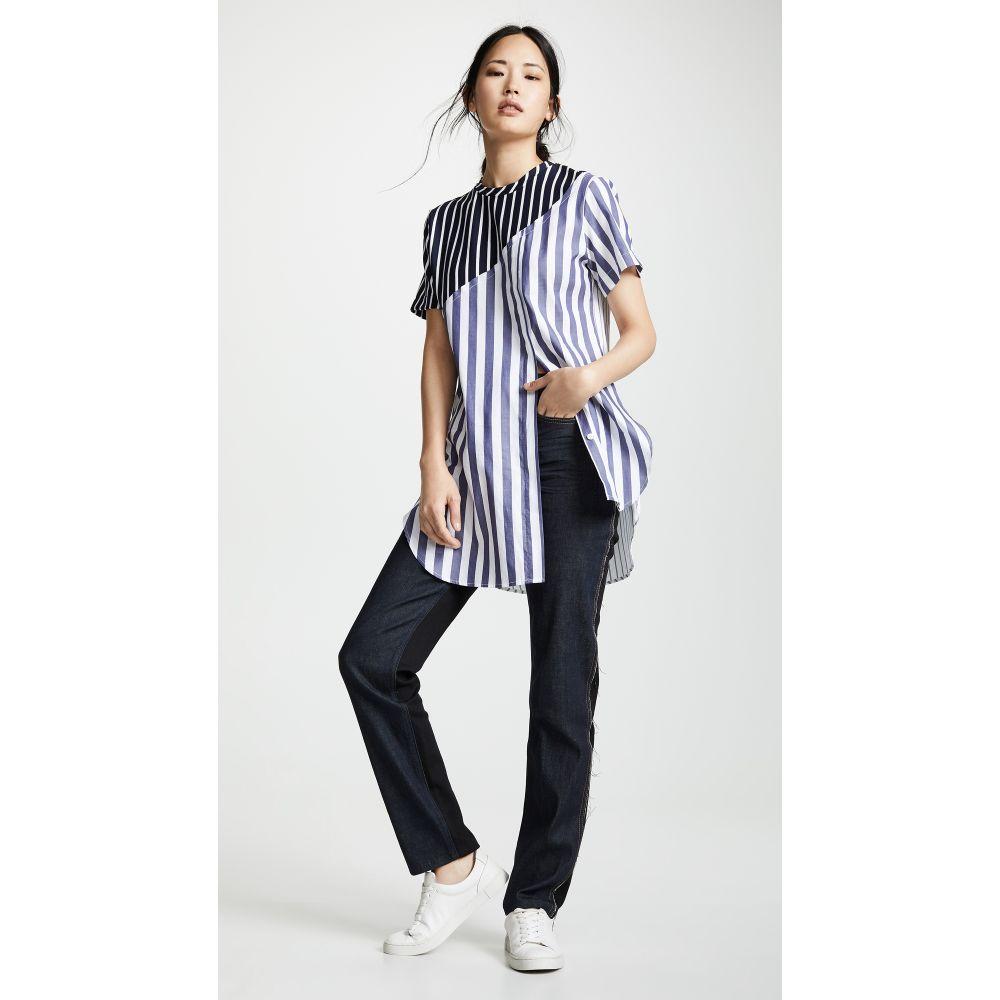 モンス Monse レディース トップス Tシャツ【Torn Striped Tee】Navy/White