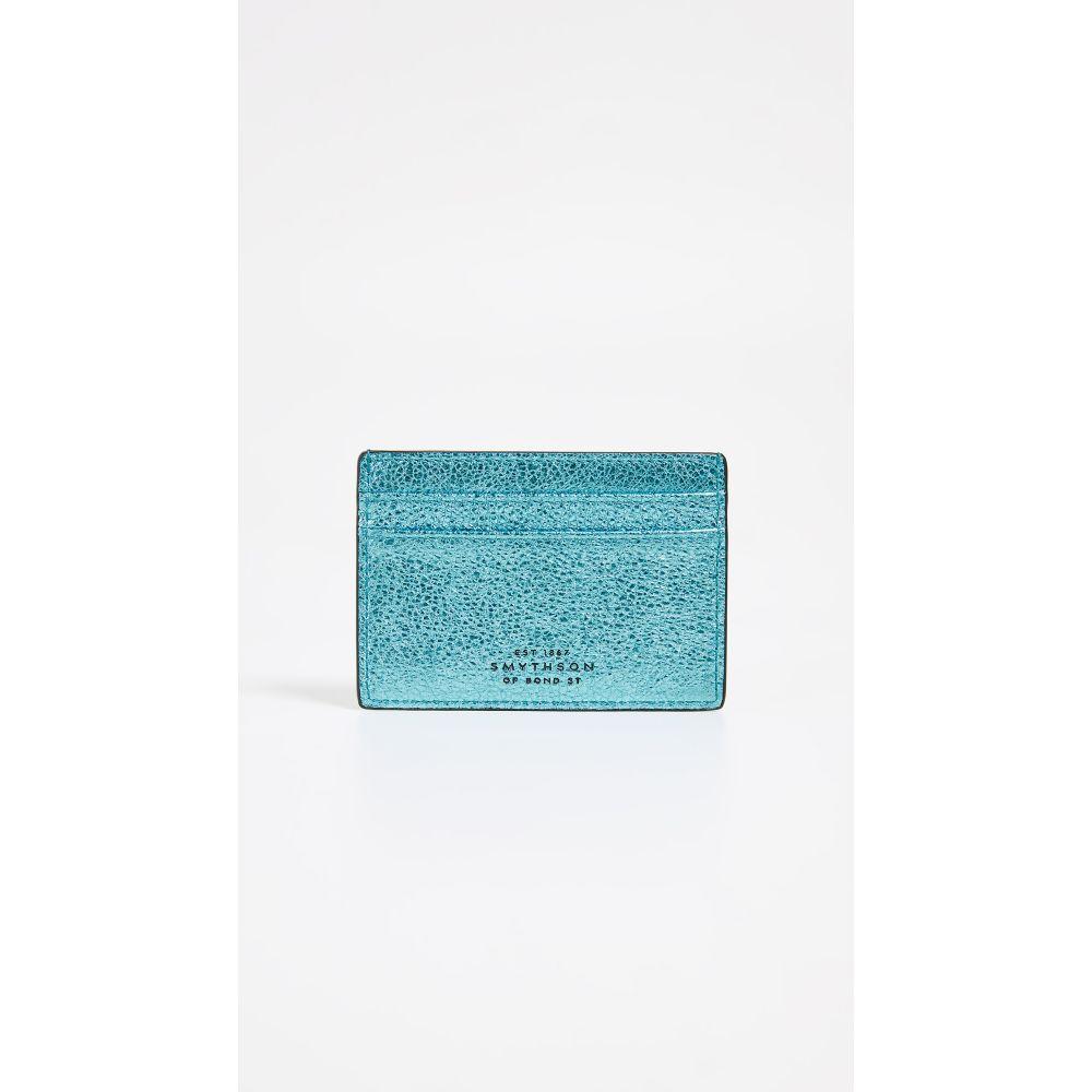スマイソン Smythson レディース カードケース・名刺入れ【Metallic Leather Flat Card Holder】Petrol Blue/Sky Blue