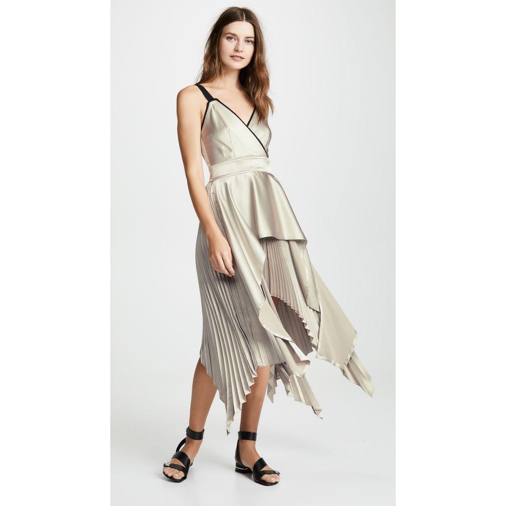 イーガル アズローエル Yigal Azrouel レディース ワンピース・ドレス ワンピース【Textured V Neck Pleat Dress】Praline Multi