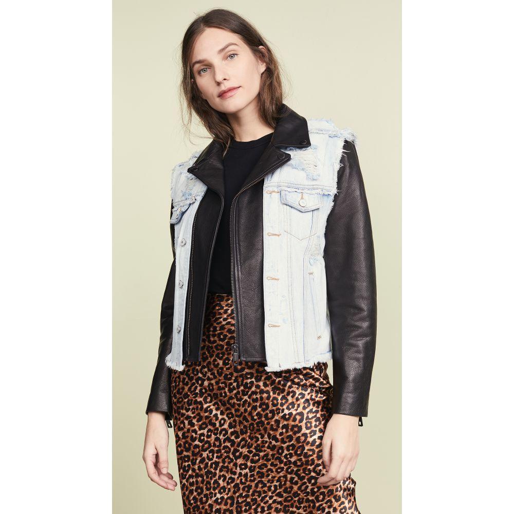 ジョセリン Jocelyn レディース トップス ベスト・ジレ【Denim Vest Leather Jacket】Denim/Black