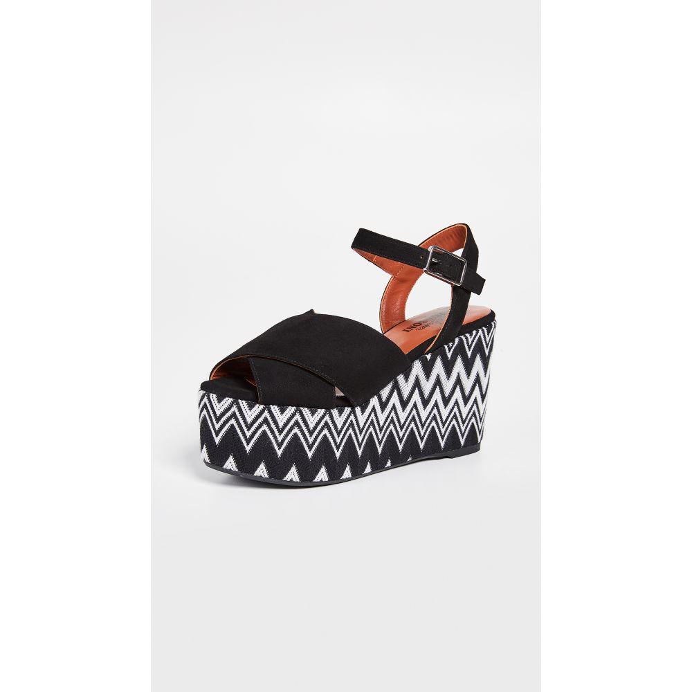Engie シューズ・靴 Sandals】Black/White Missoni カスタネール Wedge サンダル・ミュール【x レディース Castaner