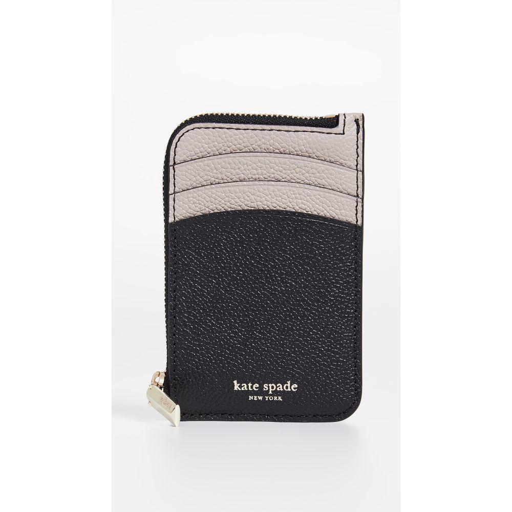 ケイト スペード Kate Spade New York レディース カードケース・名刺入れ【Margaux Zip Card Holder】Black/Warm Taupe