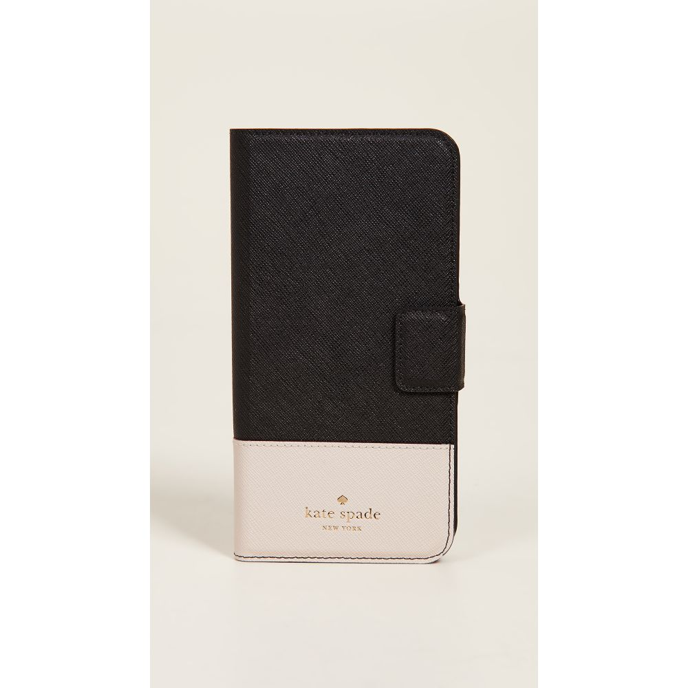 ケイト スペード Kate Spade New York レディース iPhone (8 Plus)ケース【Leather Wrap Folio iPhone 7 Plus / 8 Plus Case】Black/Tusk
