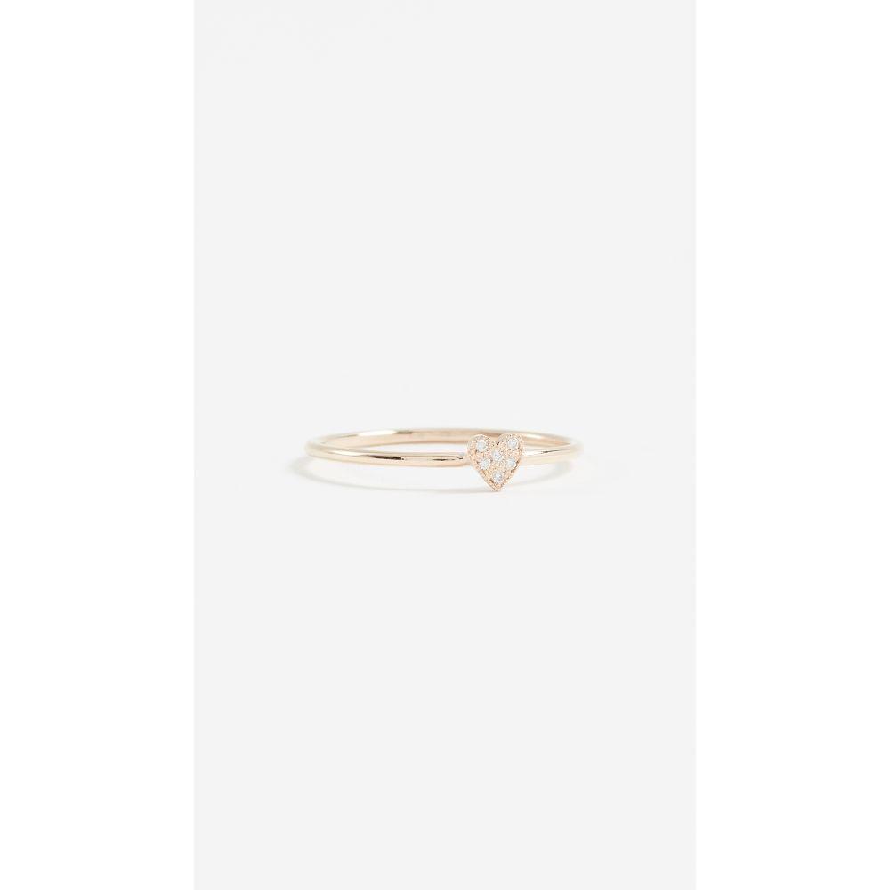ゾーイ チコ Zoe Chicco レディース ジュエリー・アクセサリー 指輪・リング【14K Gold Single Heart Ring with White Pave Diamonds】Yellow Gold
