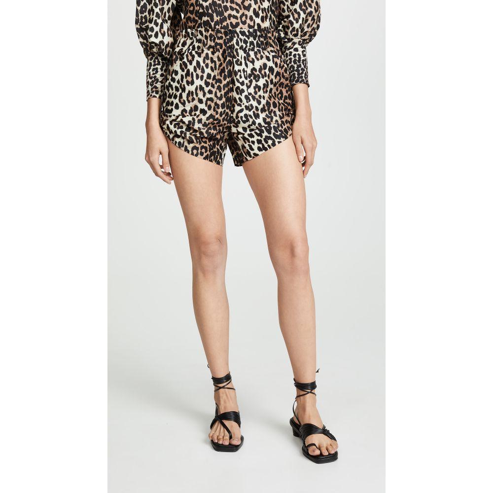 ガニー GANNI レディース ボトムス・パンツ ショートパンツ【Silk Linen Shorts】Leopard