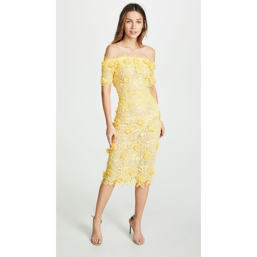 コスタレロス Costarellos レディース ワンピース・ドレス ワンピース【Off the Shoulder Lasercut Lace Dress】Yellow/White