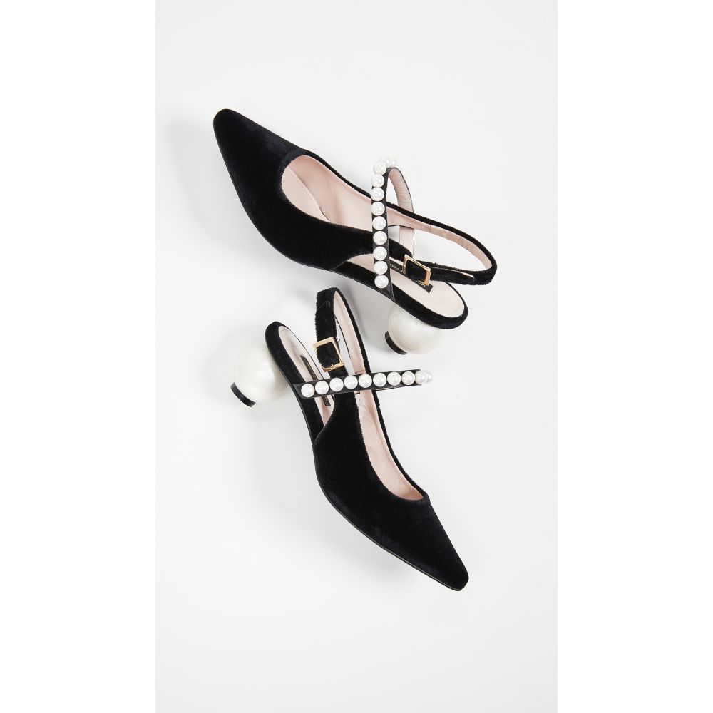 マザー オブ パール Mother of Pearl レディース シューズ・靴 ヒール【Pearl Strap and Pearl Heel Slingbacks】Black