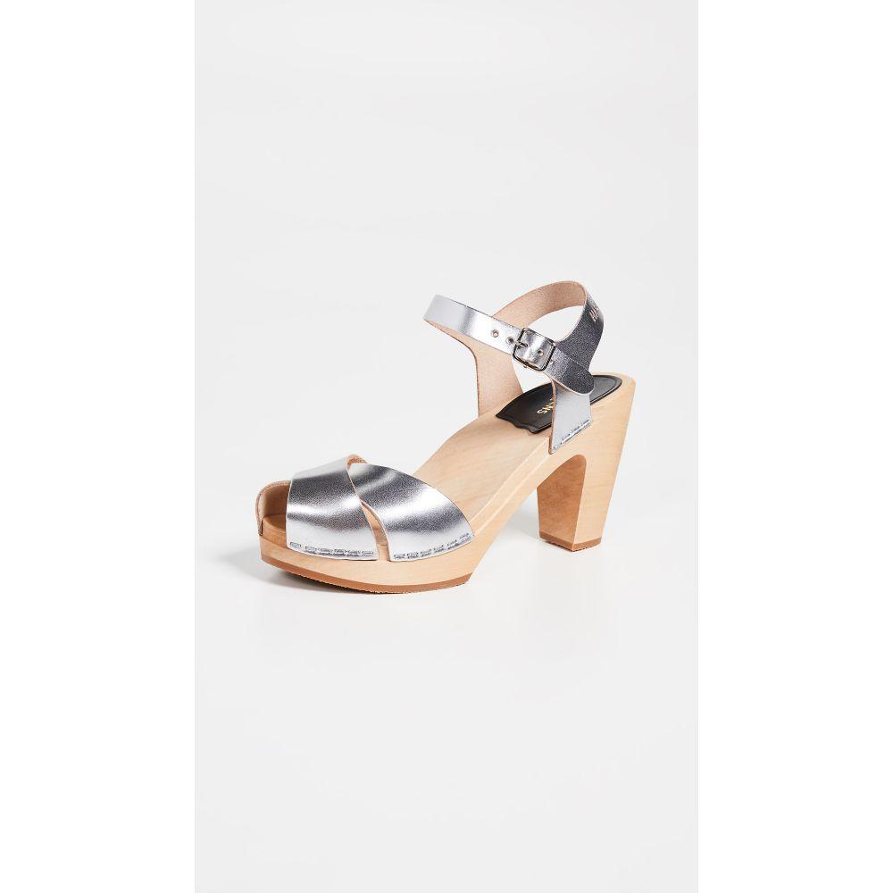 スウェディッシュ ハズビーンズ Swedish Hasbeens レディース シューズ・靴 サンダル・ミュール【Merci Ankle Strap Clogs】Silver