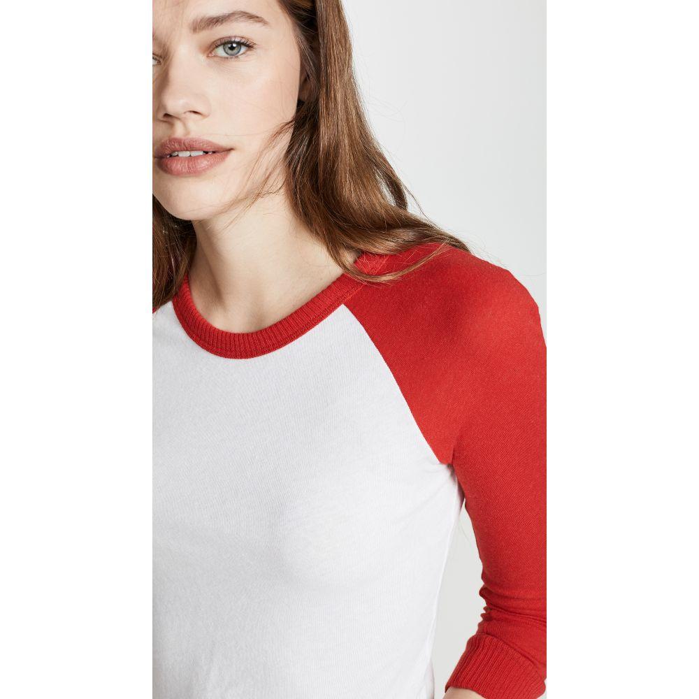 エンザコスタ Enza Costa レディース トップス 長袖Tシャツ【Cotton Cashmere Baseball Crew T-Shirt】White/Icon Red
