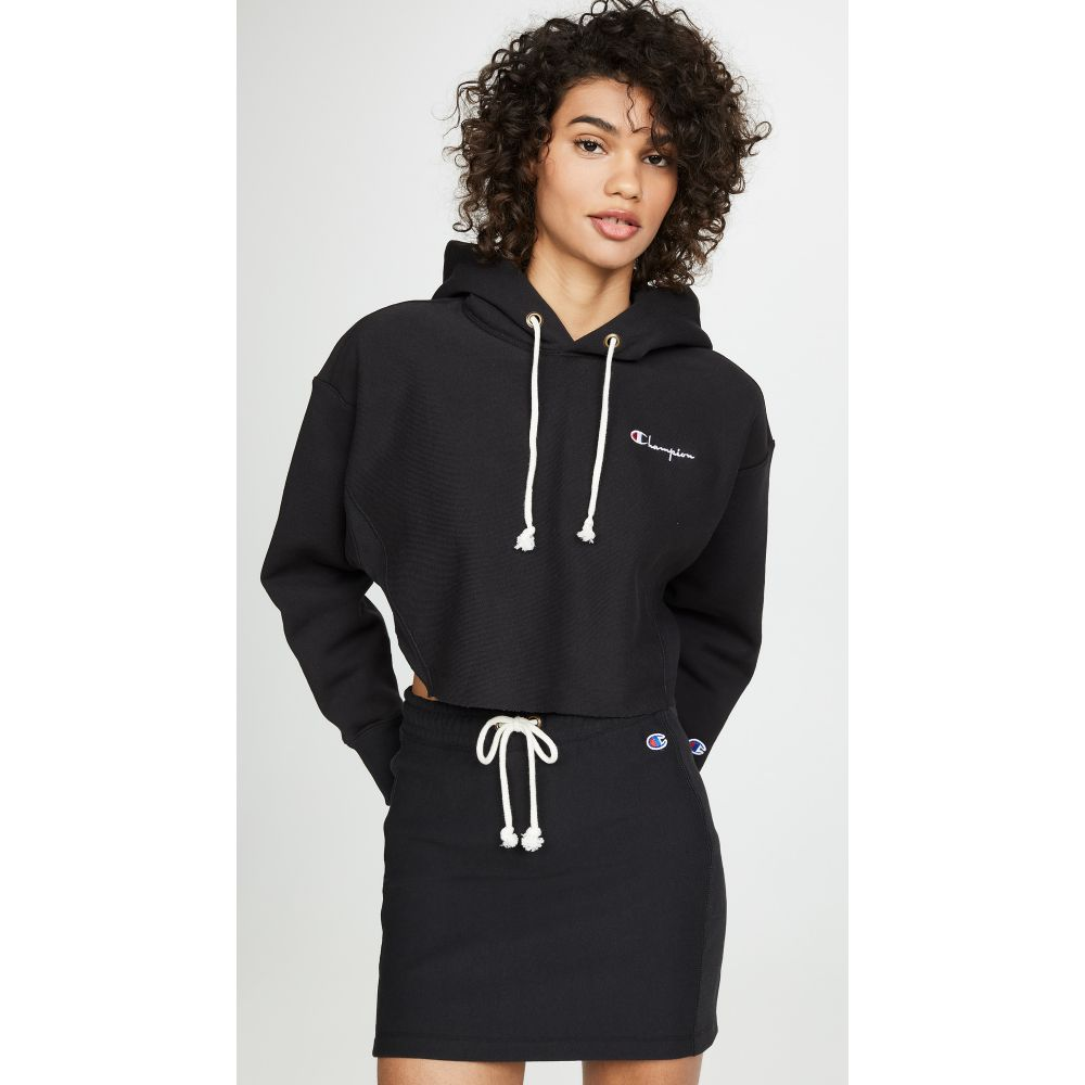 チャンピオン Champion Premium Reverse Weave レディース トップス パーカー【Cropped Hooded Sweatshirt】Black Beauty