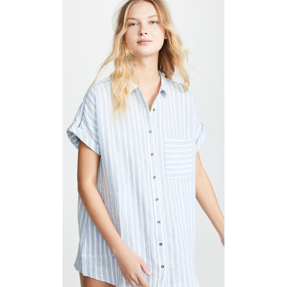 プラッシュ Plush レディース 水着・ビーチウェア ビーチウェア【Striped Linen Dress】Sky Blue
