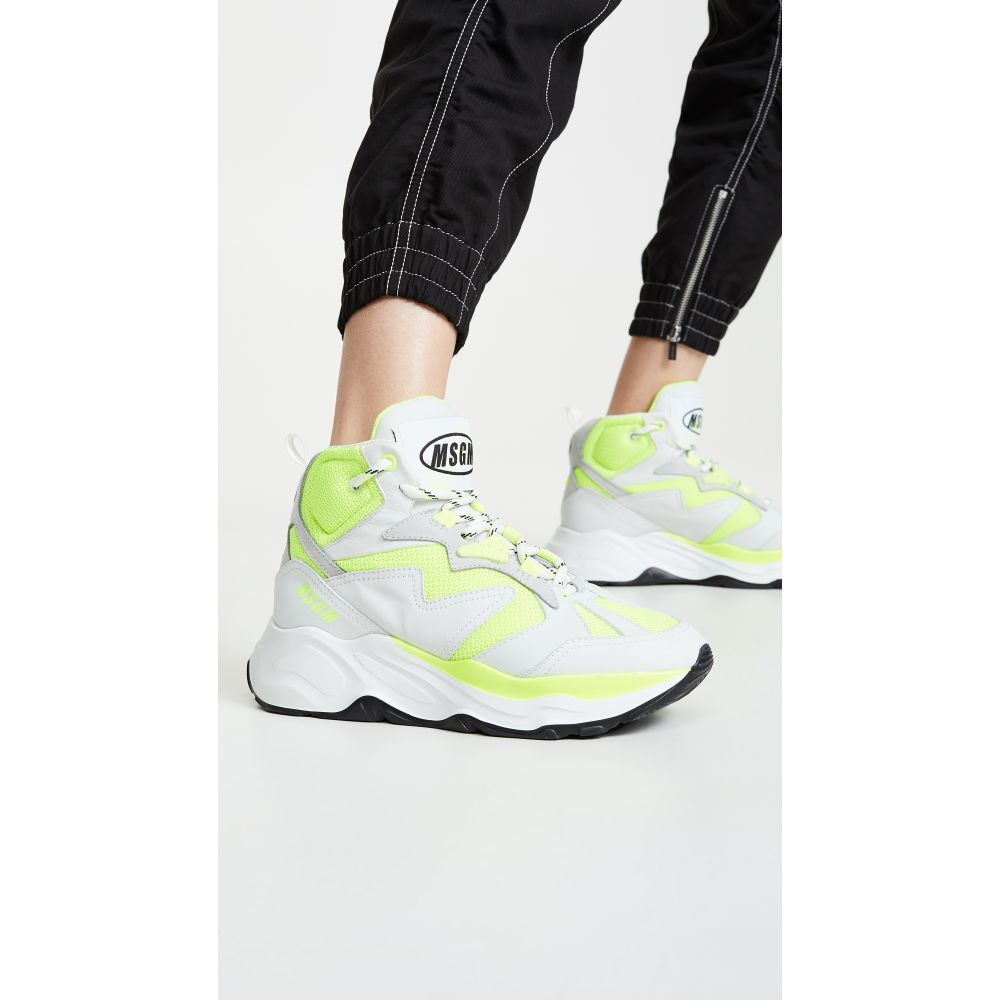 エムエスジーエム MSGM レディース シューズ・靴 スニーカー【Attack Hi-Top Sneakers】Neon Yellow
