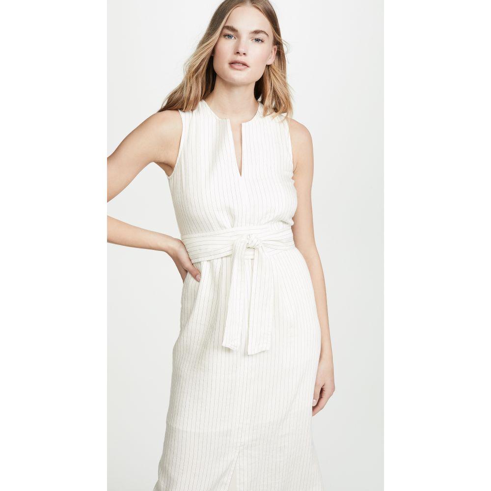 ヴィンス Vince レディース ワンピース・ドレス ワンピース【Pencil Stripe Belted Sleeveless Dress】CrEme