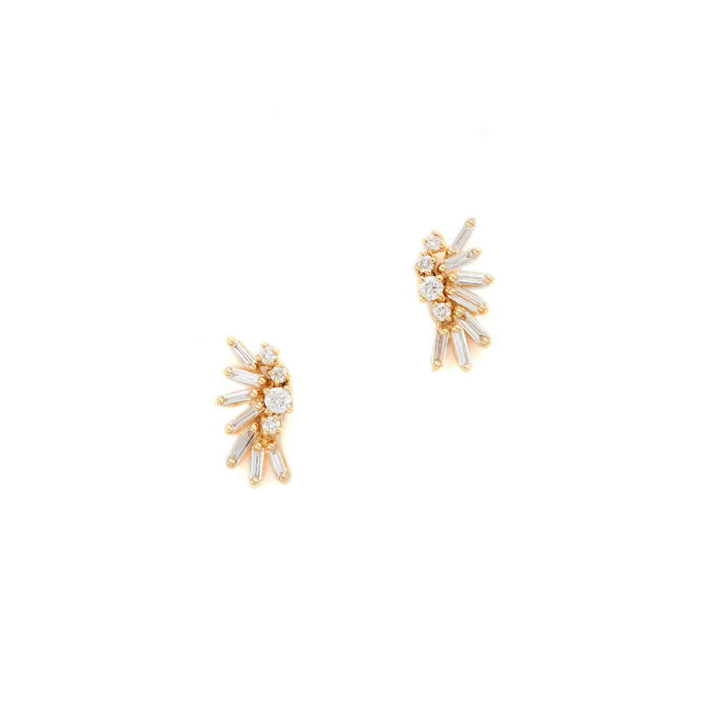 スザンヌカラン Suzanne Kalan レディース ジュエリー・アクセサリー イヤリング・ピアス【Fireworks 18k Gold Diamond Baguette Earrings】Yellow Gold