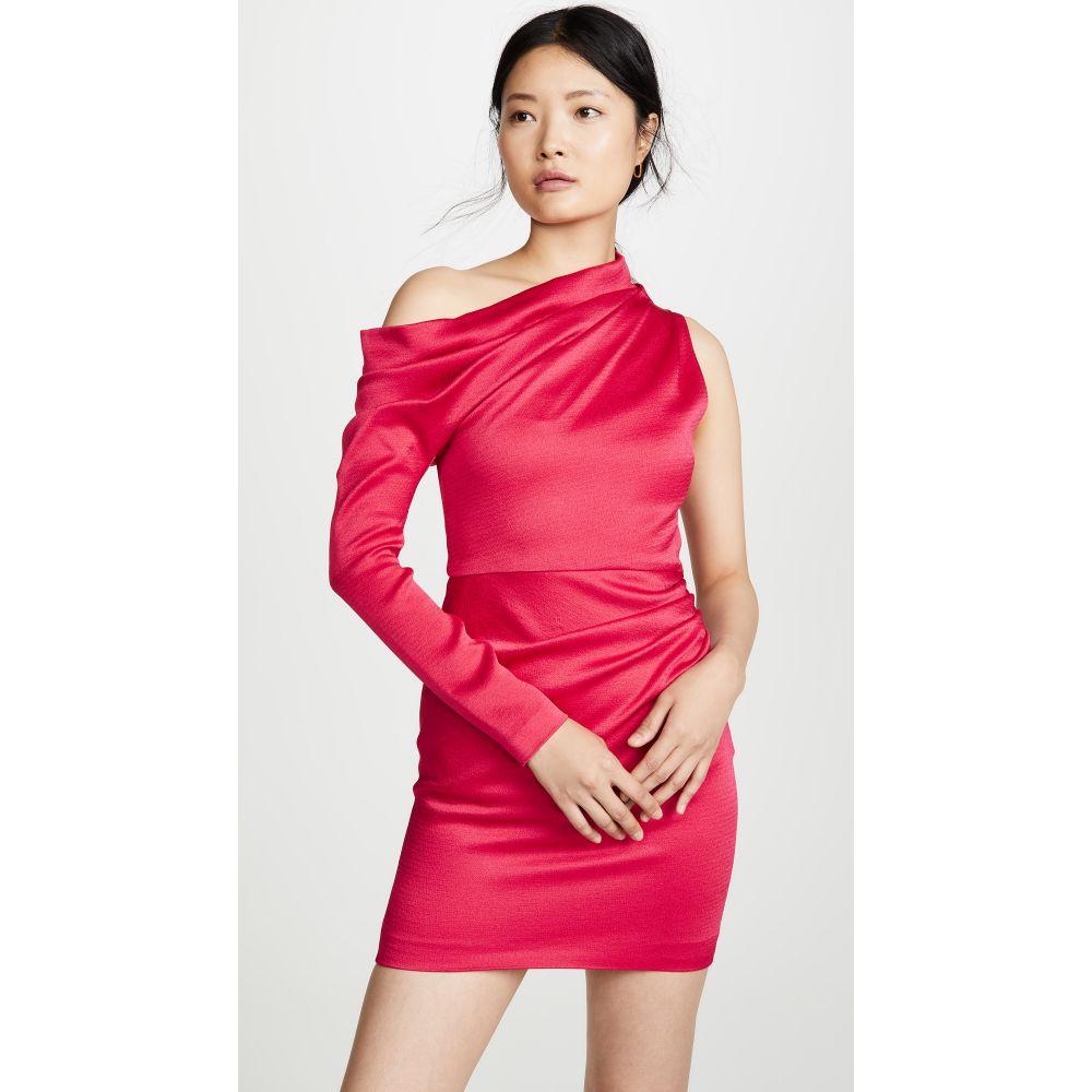クシュニーエオクス Cushnie レディース ワンピース・ドレス ワンピース【Off Shoulder Single Sleeve Mini Dress】Cerise