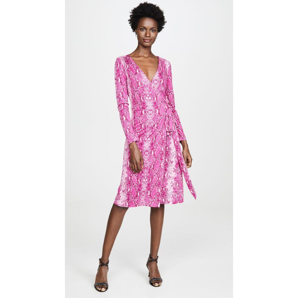 ダイアン フォン ファステンバーグ Diane von Furstenberg レディース ワンピース・ドレス ワンピース【Long Sleeve Julian Wrap Dress】Python Ribbon Pink