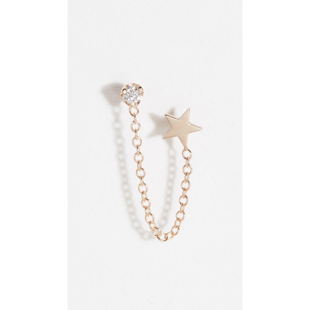 ゾーイ チコ Zoe Chicco レディース ジュエリー・アクセサリー イヤリング・ピアス【14k Double Stud Earrings with Star & Diamond Chain】Yellow Gold