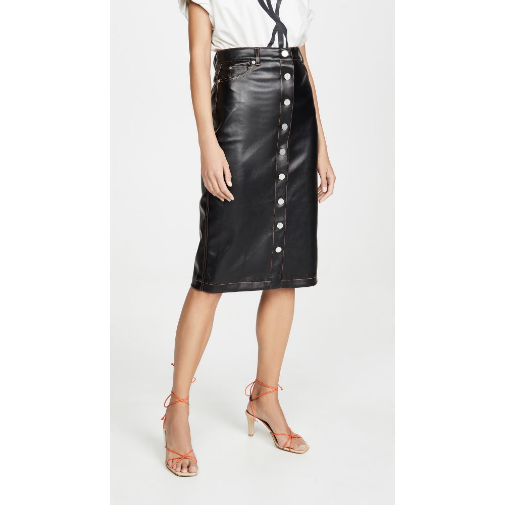 プロエンザ スクーラー Proenza Schouler PSWL レディース スカート ひざ丈スカート【Faux Leather Button Front Midi Skirt】Black