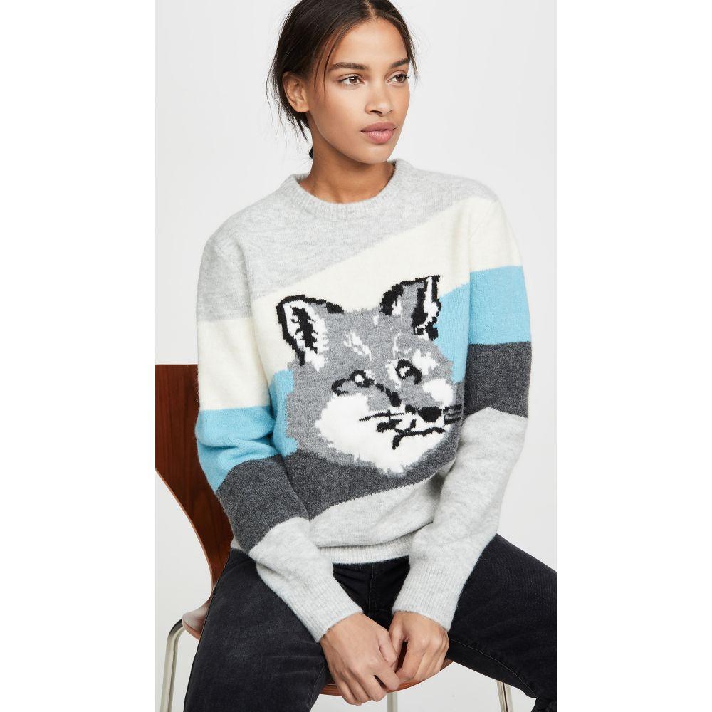 メゾン キツネ Maison Kitsune レディース トップス 【Fox Head Diagonal Stripes Pullover】Multicolor