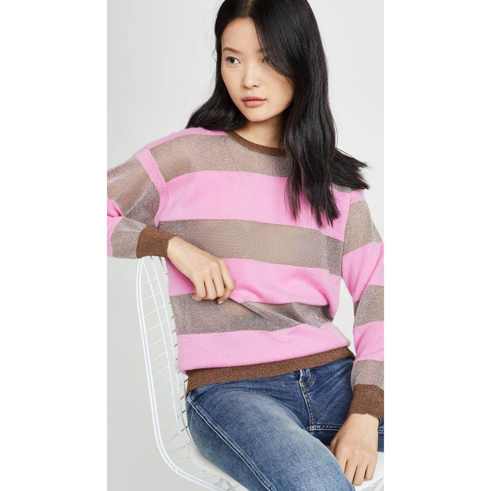 レプリカ ロサンゼルス Replica Los Angeles レディース ニット・セーター トップス【candy stripe cashmere sweater】Bonbon Silver