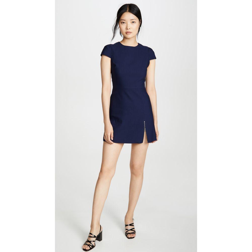 アリス アンド オリビア alice + olivia レディース ワンピース ワンピース・ドレス【Maya Short Sleeve Asymmetrical Zip Mini Dress】Sapphire