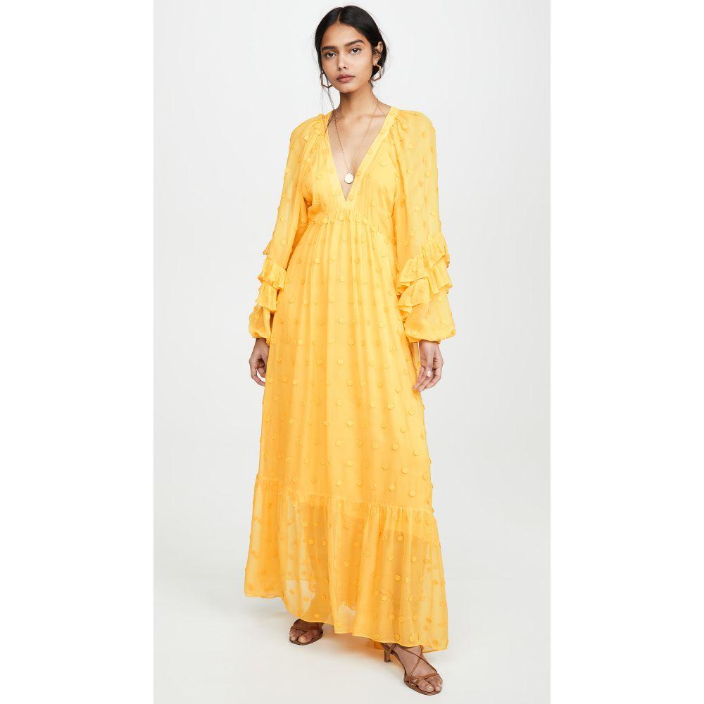 ファーム FARM Rio レディース ワンピース マキシ丈 ワンピース・ドレス【Floral Detail Maxi Dress】Yellow