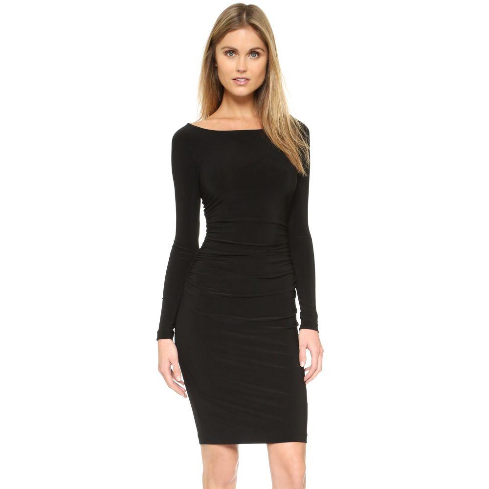 ノーマ カマリ Norma Kamali レディース ワンピース ワンピース・ドレス【Kamali Kulture Long Sleeve Dress with Shirred Waist】Black