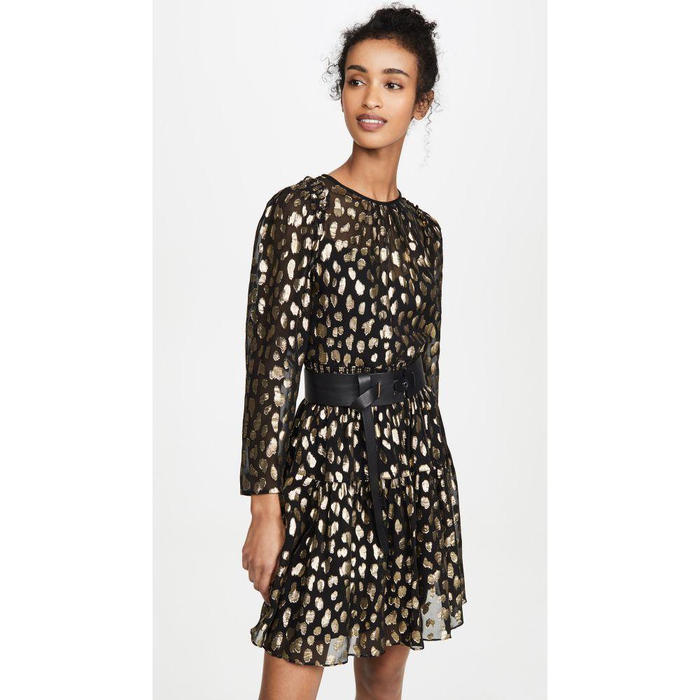 レベッカ テイラー Rebecca Taylor レディース ワンピース ワンピース・ドレス【Long Sleeve Leopard Metallic Dress】Black Combo