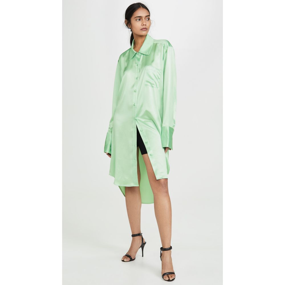 アレキサンダー ワン alexanderwang.t レディース ブラウス・シャツ トップス【Wet Shine Oversized Button Down Shirt】Mint