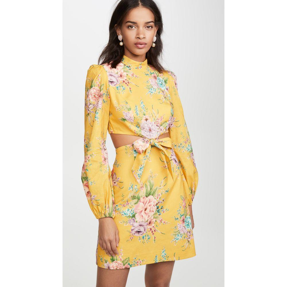 ジマーマン Zimmermann レディース ワンピース ワンピース・ドレス【Zinnia Bow Cutout Short Dress】Golden Floral