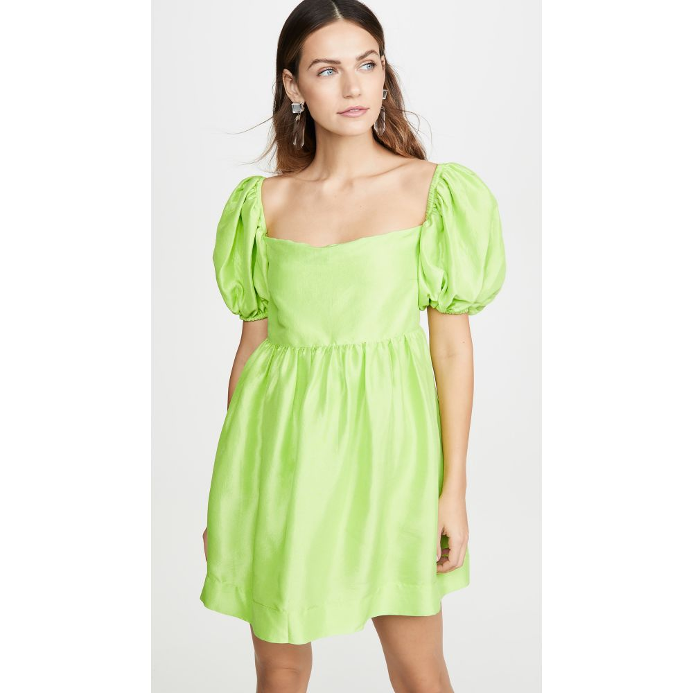 Azeeza レディース ワンピース ミニ丈 ワンピース・ドレス【Puff Sleeve Mini Dress】Lime
