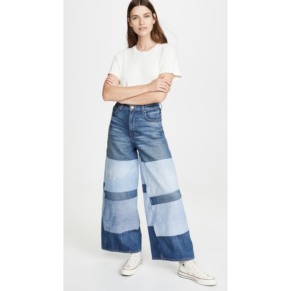 ビーサイズ B Sides レディース ジーンズ・デニム ボトムス・パンツ【Claude High Flare Jeans】Awning Stripe Patchwork