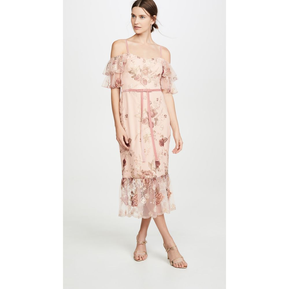 ノッテ バイ マルケッサ Marchesa Notte レディース パーティードレス ワンピース・ドレス【Off the Shoulder Tiered Sleeve Embroidered Tea-Length Gown】Blush
