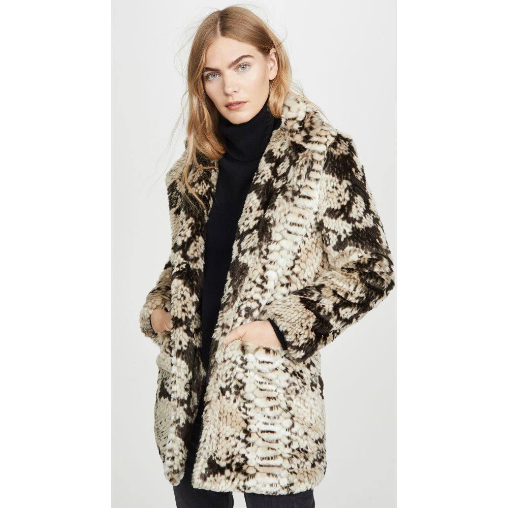 アパリス Apparis レディース コート ファーコート アウター【Sydney Faux Fur Coat】Ivory Python
