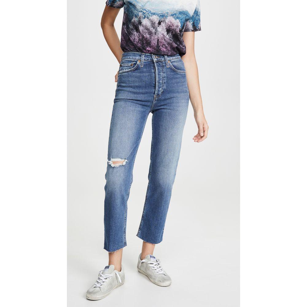 リダン RE/DONE レディース ジーンズ・デニム ボトムス・パンツ【Ultra High Rise Stove Pipe Jeans】Vintage Indigo Destroy