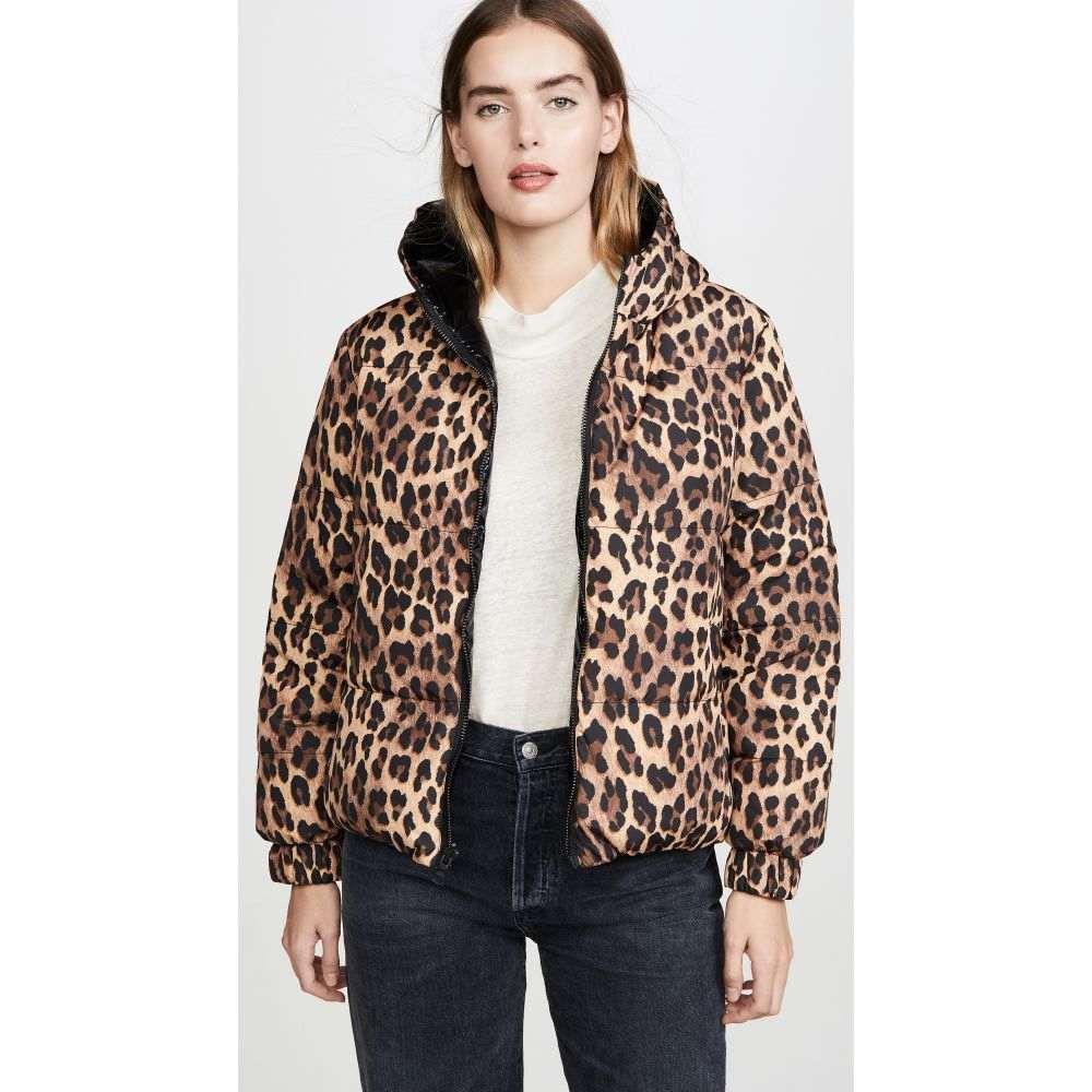 アリス アンド オリビア alice + olivia レディース ダウン・中綿ジャケット フード アウター【Durham PR Reversible Hooded Puffer Coat】Spotted Leopard Dark Tan/Black
