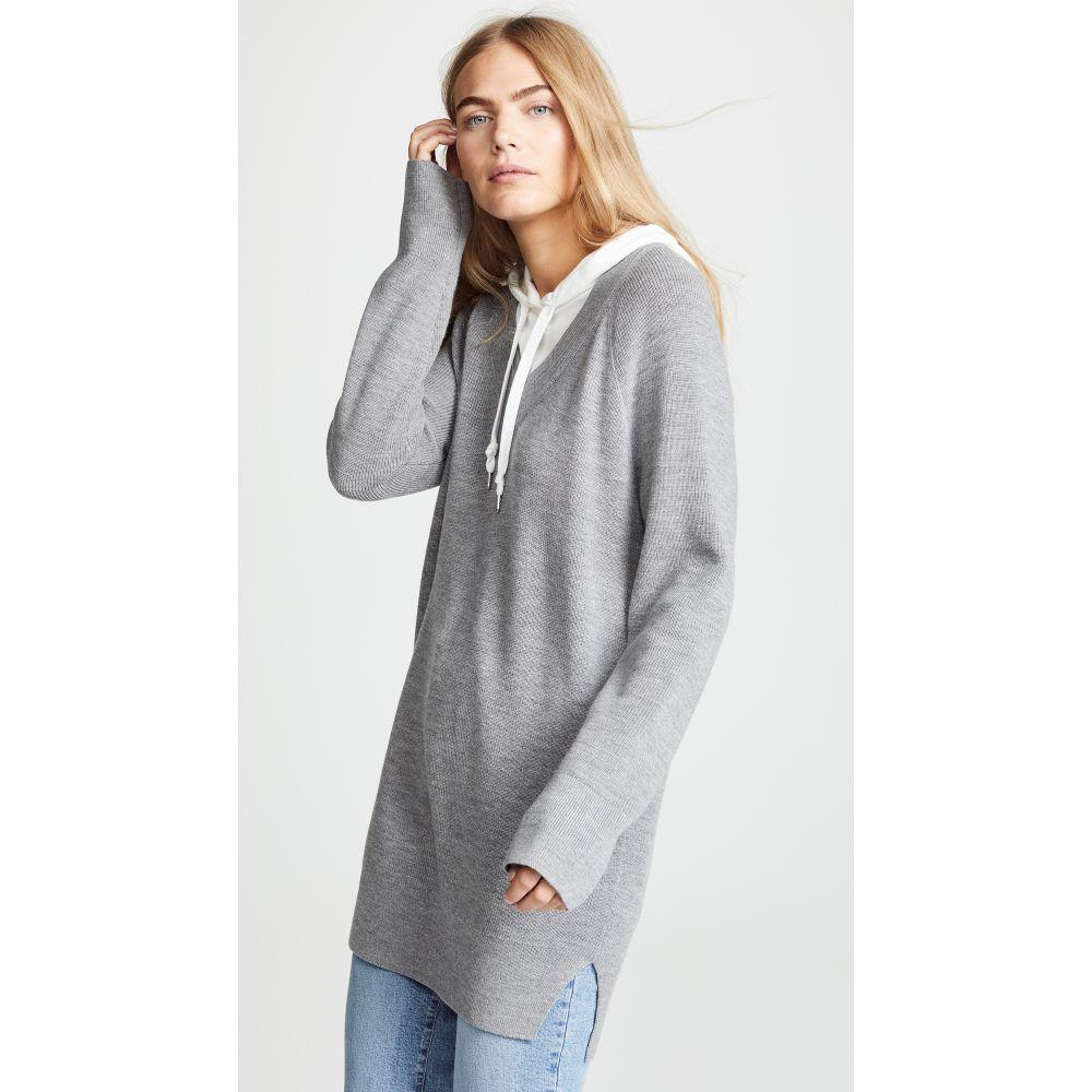 アレキサンダー ワン alexanderwang.t レディース チュニック トップス【Sweater Tunic with Inner Hoodie】Heather Grey