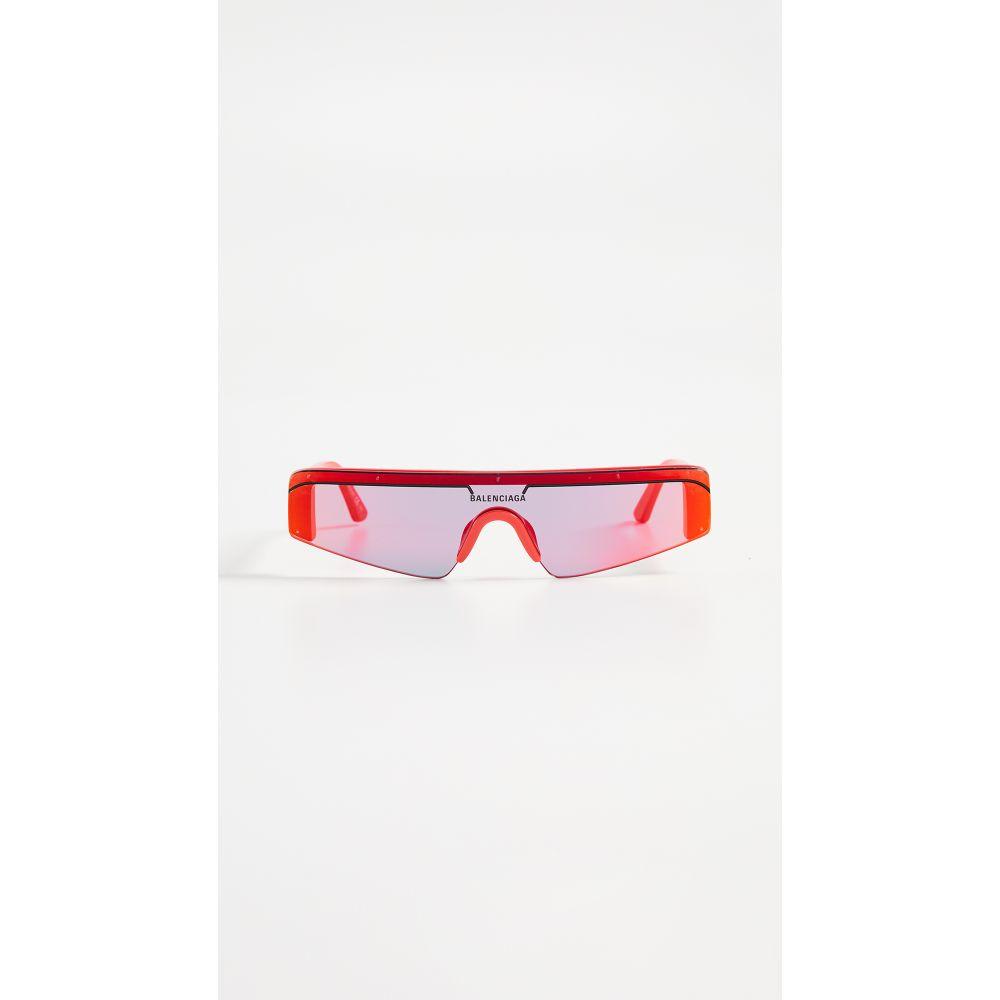 バレンシアガ Balenciaga レディース メガネ・サングラス 【Ski Straight Sunglasses】Red with Red Mirrored Lens
