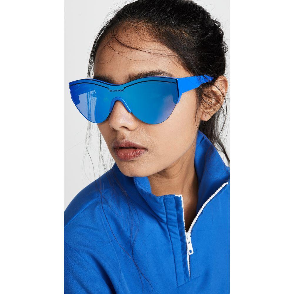 バレンシアガ Balenciaga レディース メガネ・サングラス 【Ski Soft Sunglasses】Blue with Blue Mirrored Lens