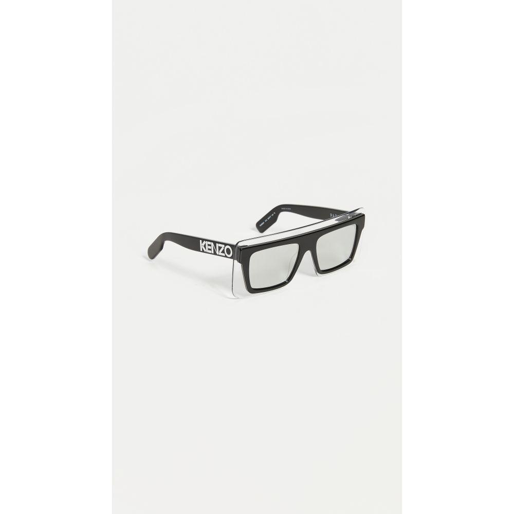 ケンゾー KENZO レディース メガネ・サングラス 【Flat Top Clear Shield Sunglasses】Black/Clear