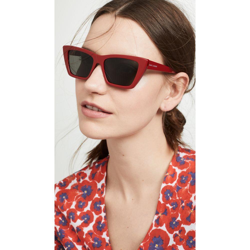 イヴ サンローラン Saint Laurent レディース メガネ・サングラス 【Narrow Cat Eye Sunglasses】Red/Grey